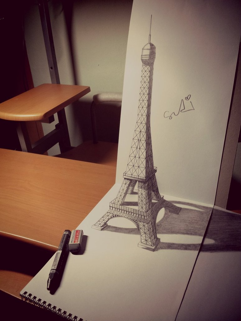 774x1032 3d Paris Eiffel Tower By Sudilin