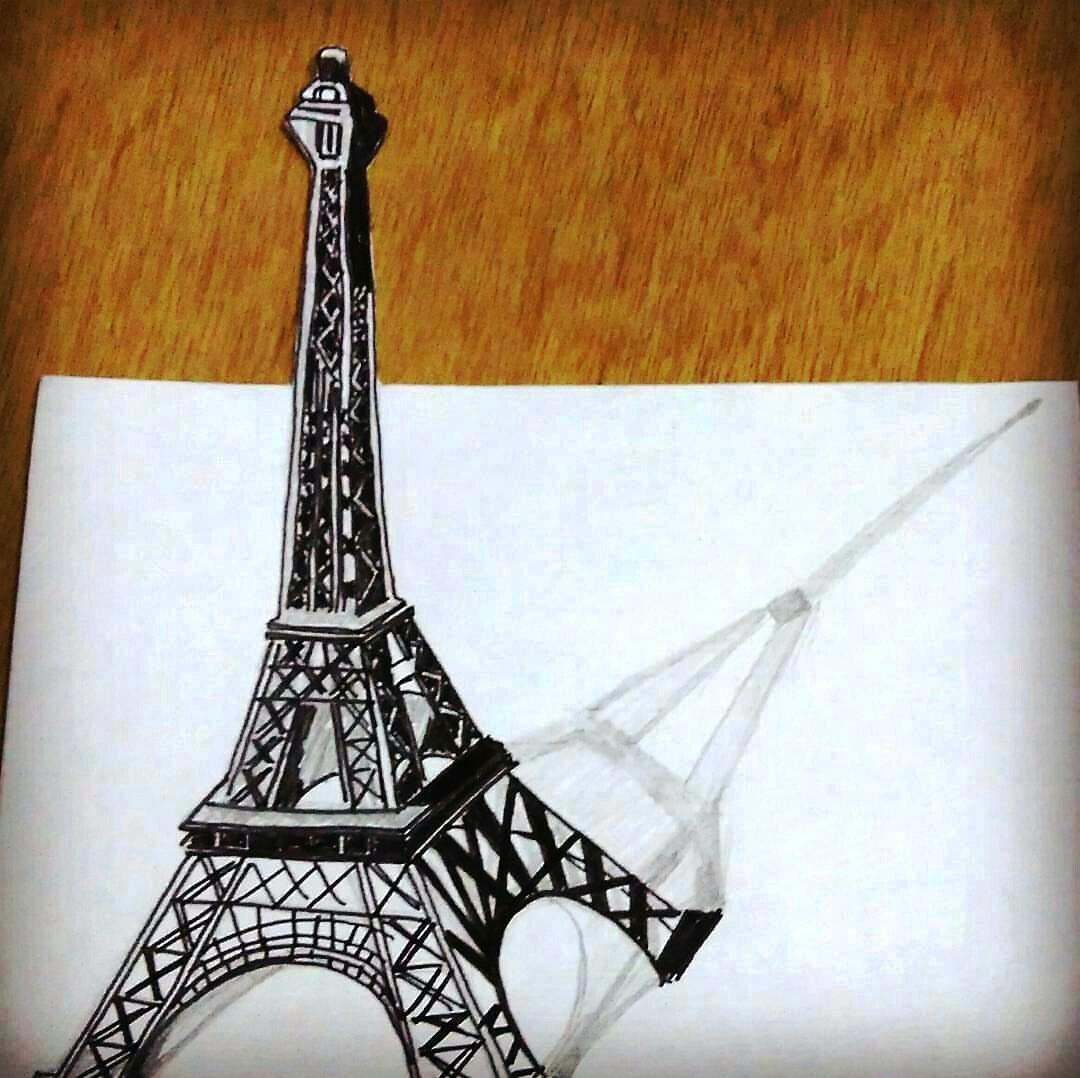 1080x1078 Eiffel Tower 3d Drawing Abigail Creative