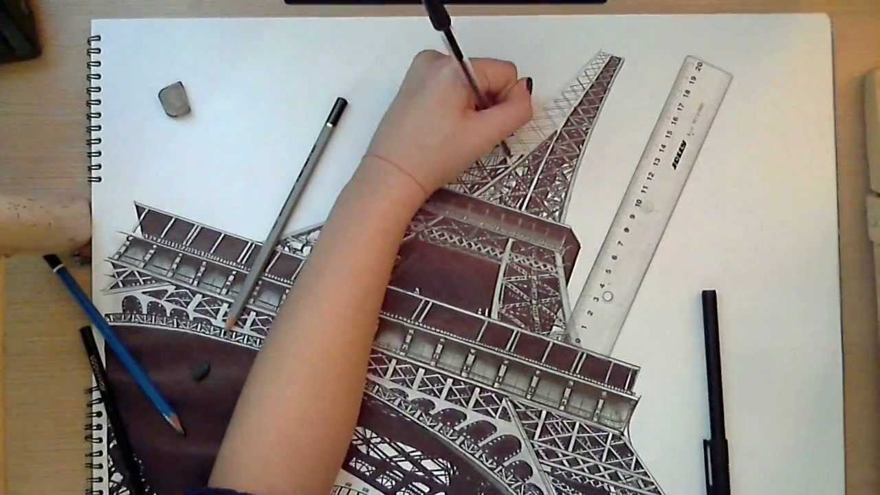 1280x720 Realistic Drawing The Eiffel Tower