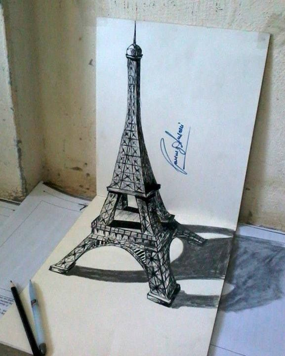 577x720 Eiffel Tower Drawing Illusion By Parvez Ansari How To Draw