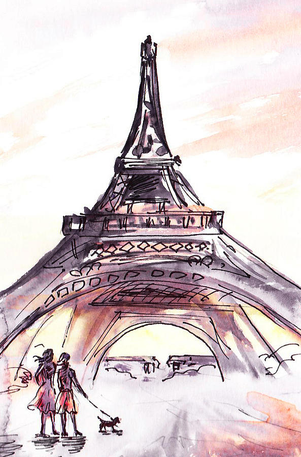 593x900 France Sketches Walking To The Eiffel Tower Painting By Irina