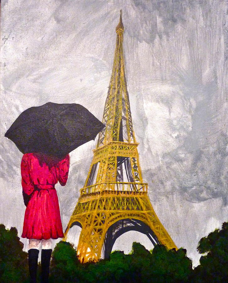 727x900 Girl Viewing Eiffel Tower In The Rain Drawing by Erika Butterfly