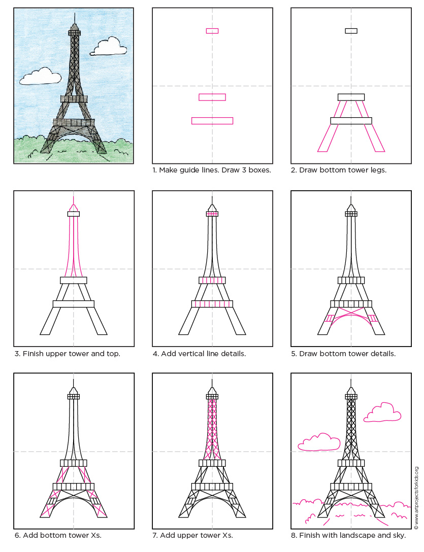 835x1088 How to Draw the Eiffel Tower