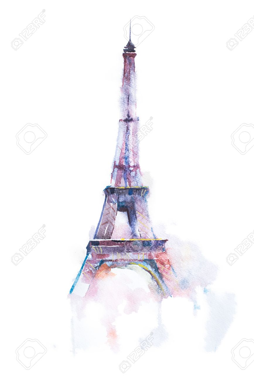 867x1300 Watercolor Drawing Of Eiffel Tower In Paris On White Background
