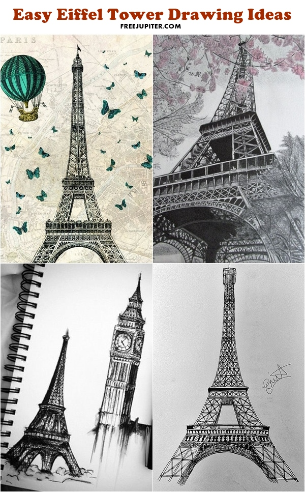 600x967 40 Easy Eiffel Tower Drawing Ideas To Try