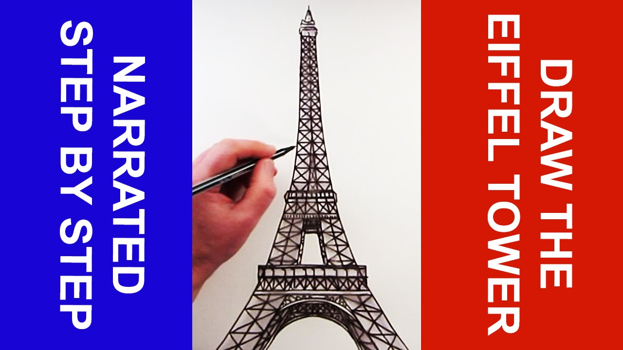 1280x720 How To Draw The Eiffel Tower Narrated Step By Step