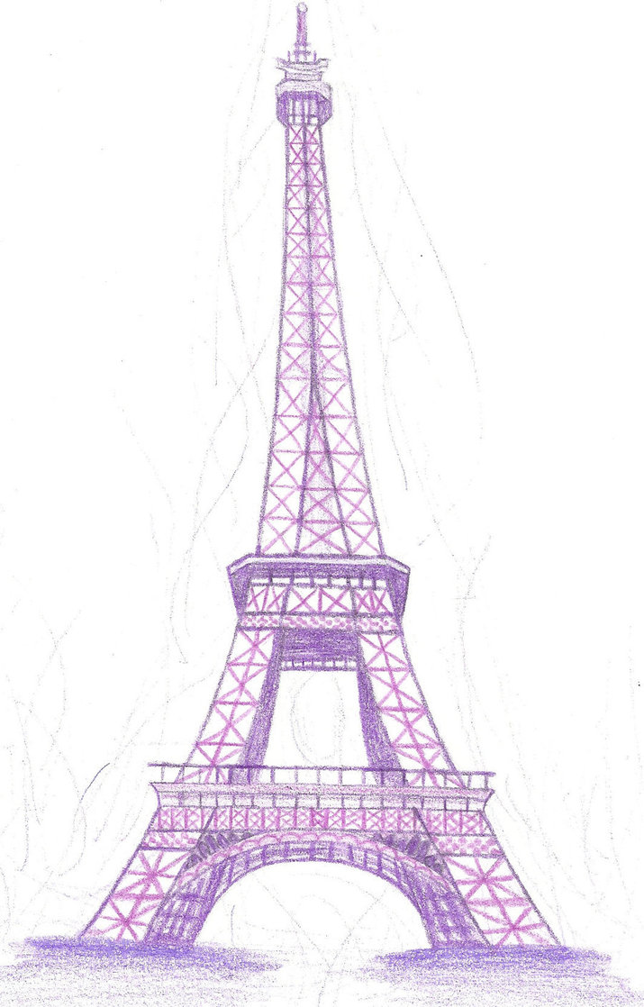 715x1118 Eiffel Tower In Purple By Doncamatica