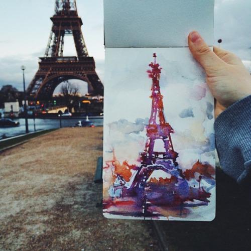 500x500 Watercolor Eiffel Tower Tumblr
