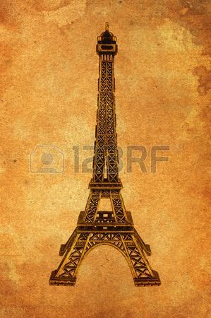 299x450 Eiffel Tower Simple Grunge Paper Illustration Concept Stock Photo