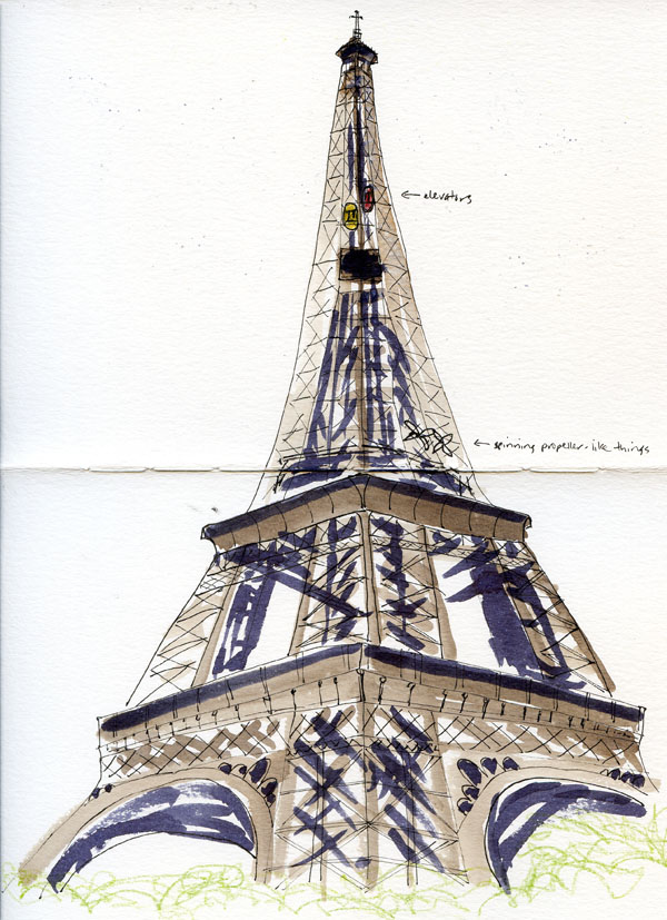 Pencil easy sketch drawn eiffel 600x827 fueled by clouds amp coffee france part 1 paris