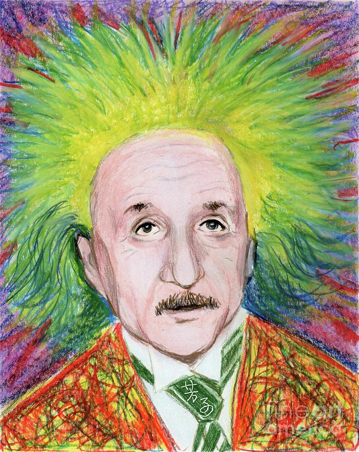 716x900 Albert Einstein Drawing By Yoshiko Mishina