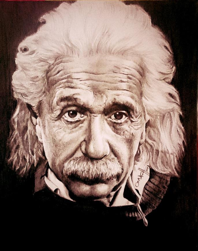 686x869 Albert Einstein Drawing By Omar Cruz