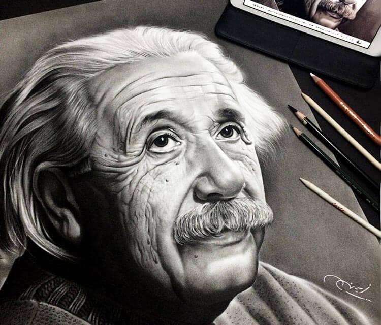 750x640 Albert Einstein Drawing By Ayman Arts No. 1705