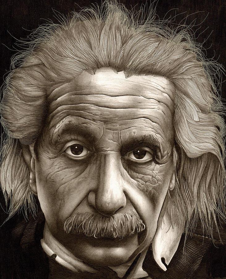 731x900 Albert Einstein Millenium Man Drawing By Lee Appleby