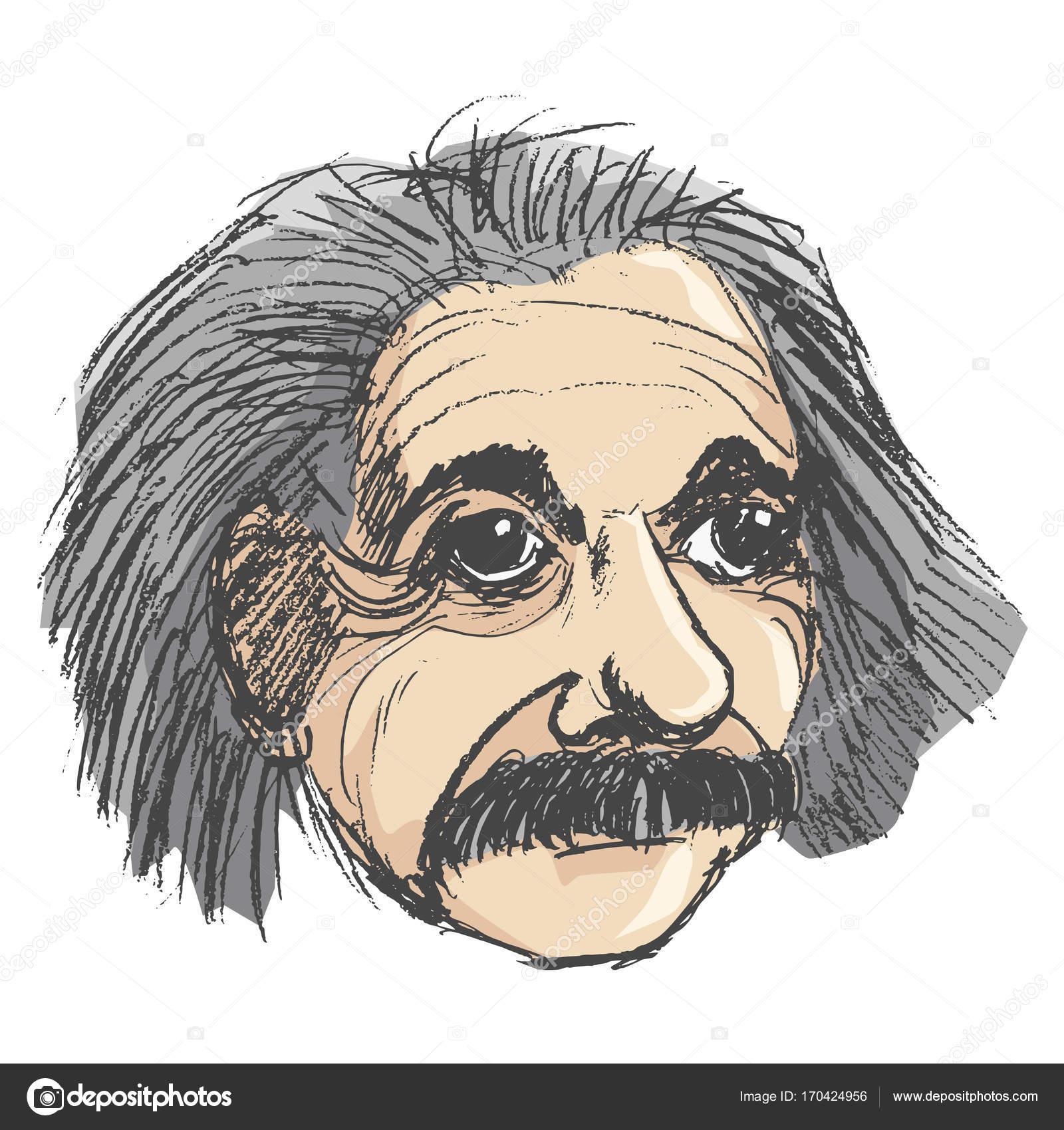 1600x1700 Portrait Of Albert Einstein Stock Vector Perysty
