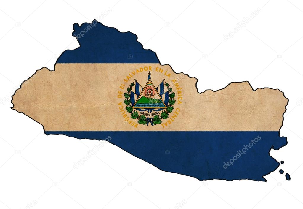 1023x704 El Salvador Map On Flag Drawing ,grunge And Retro Flag Series