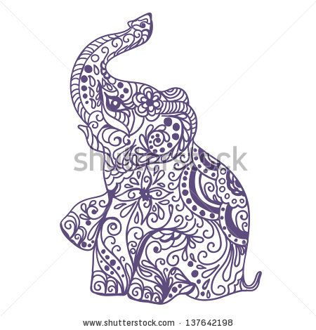 450x470 elephant silhouette trunk up