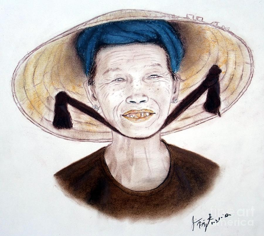 900x806 Elderly Vietnamese Woman Wearing A Conical Hat Drawing By Jim