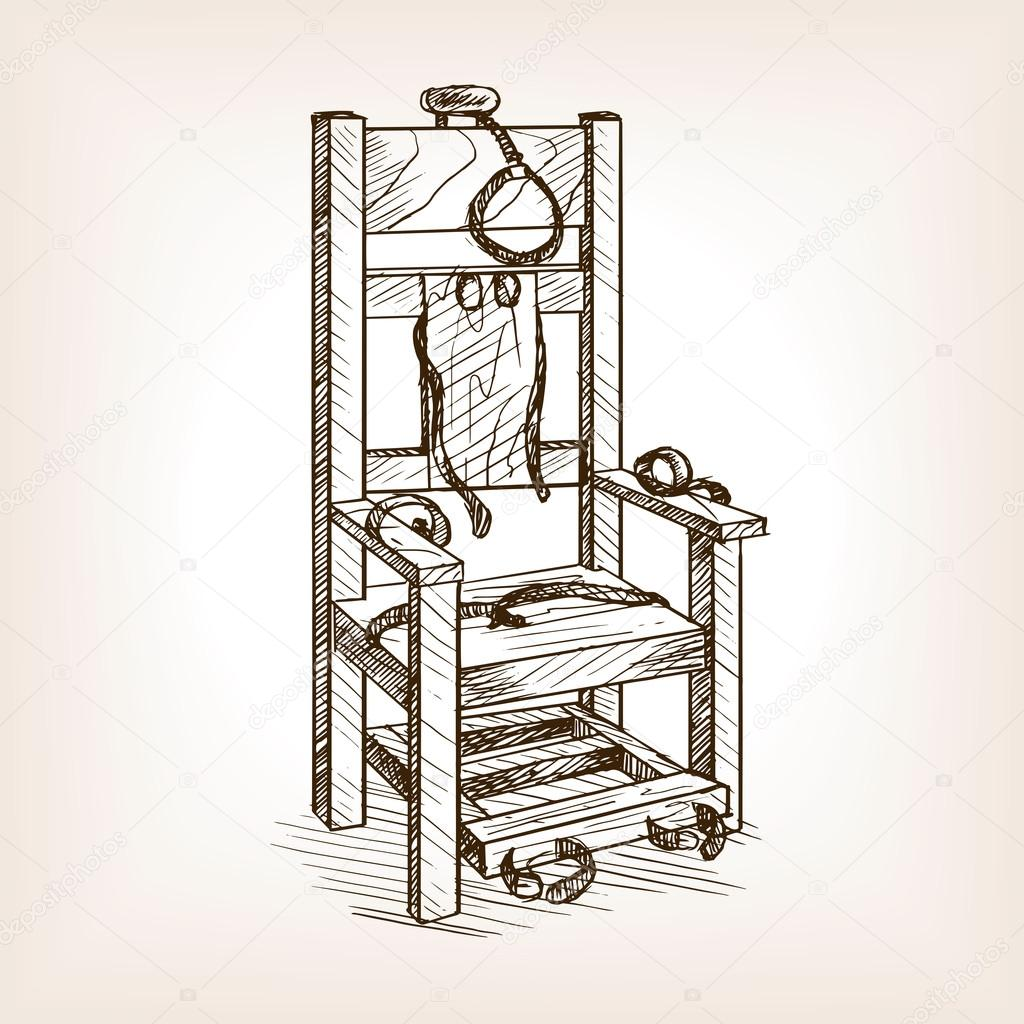 1024x1024 Electric Chair Sketch Style Vector Illustration Stock Vector