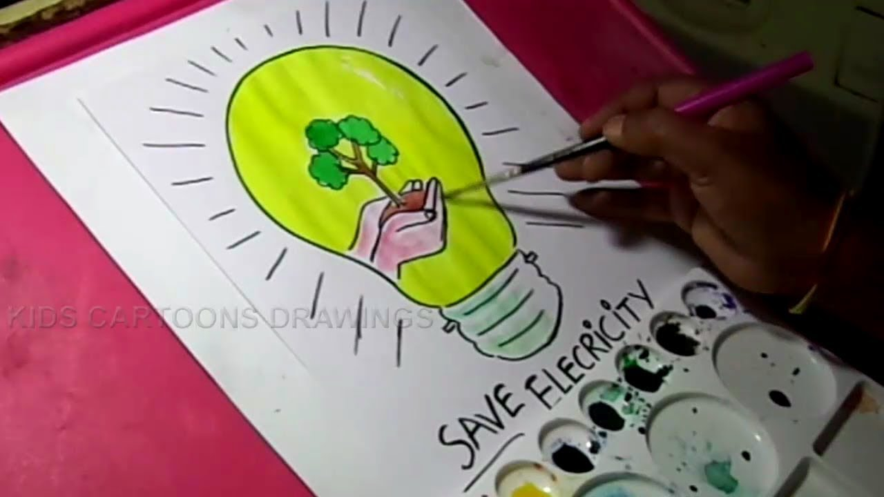 1280x720 How To Draw Save Electricity Save Energy Drawing For Kids