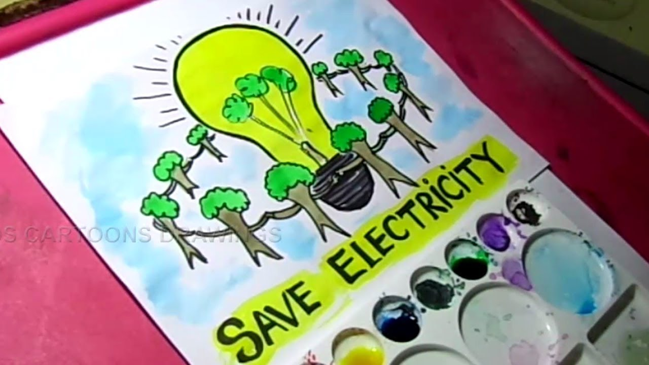 1280x720 How To Draw Save Electricity Save Energy Poster Drawing For Kids