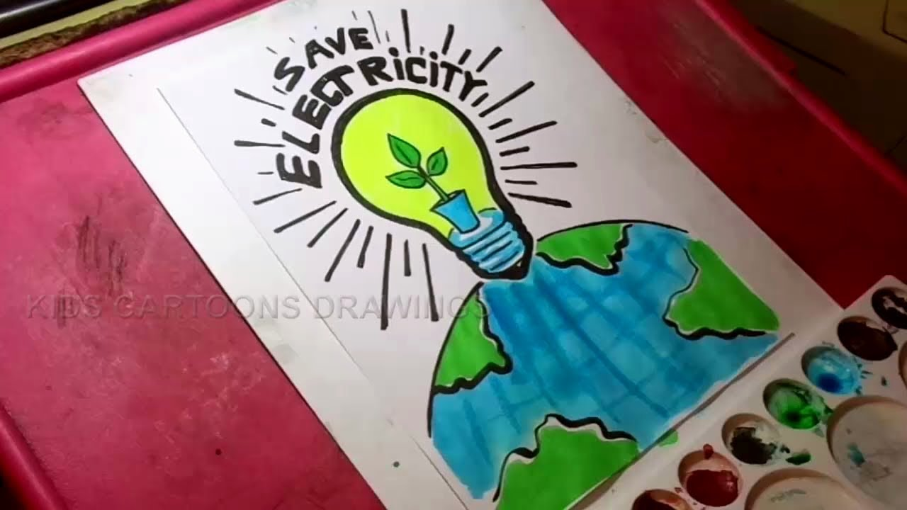 1280x720 How To Draw Save Electricity Drawing For Kids