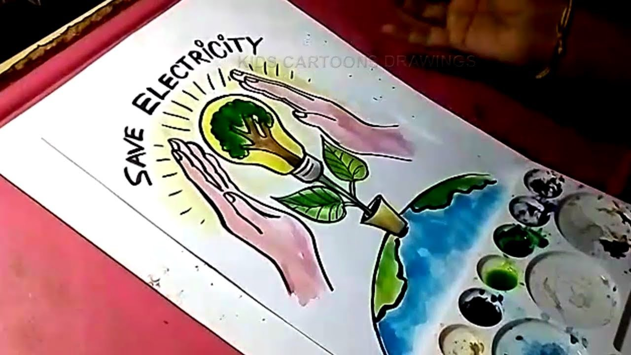 1280x720 How To Draw Save Electricity And Save The World Drawing For Kids