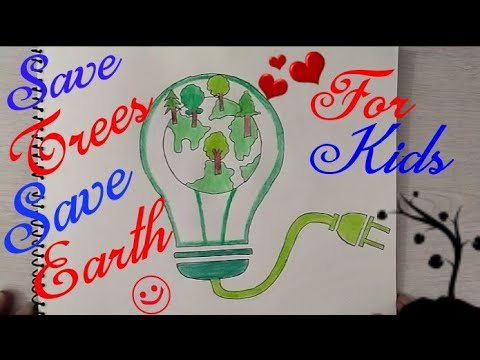 480x360 How To Draw Save Trees, Save Earth, Save Electricity Coloring