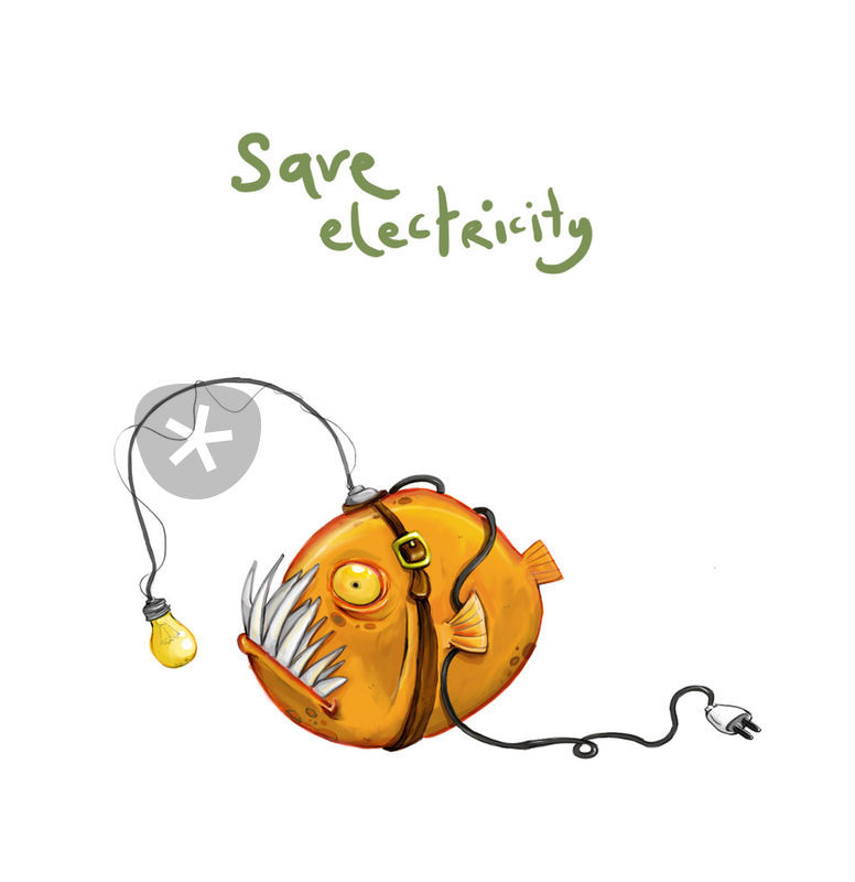 776x800 Save Electricity Drawing Art Prints And Posters By Yasemin