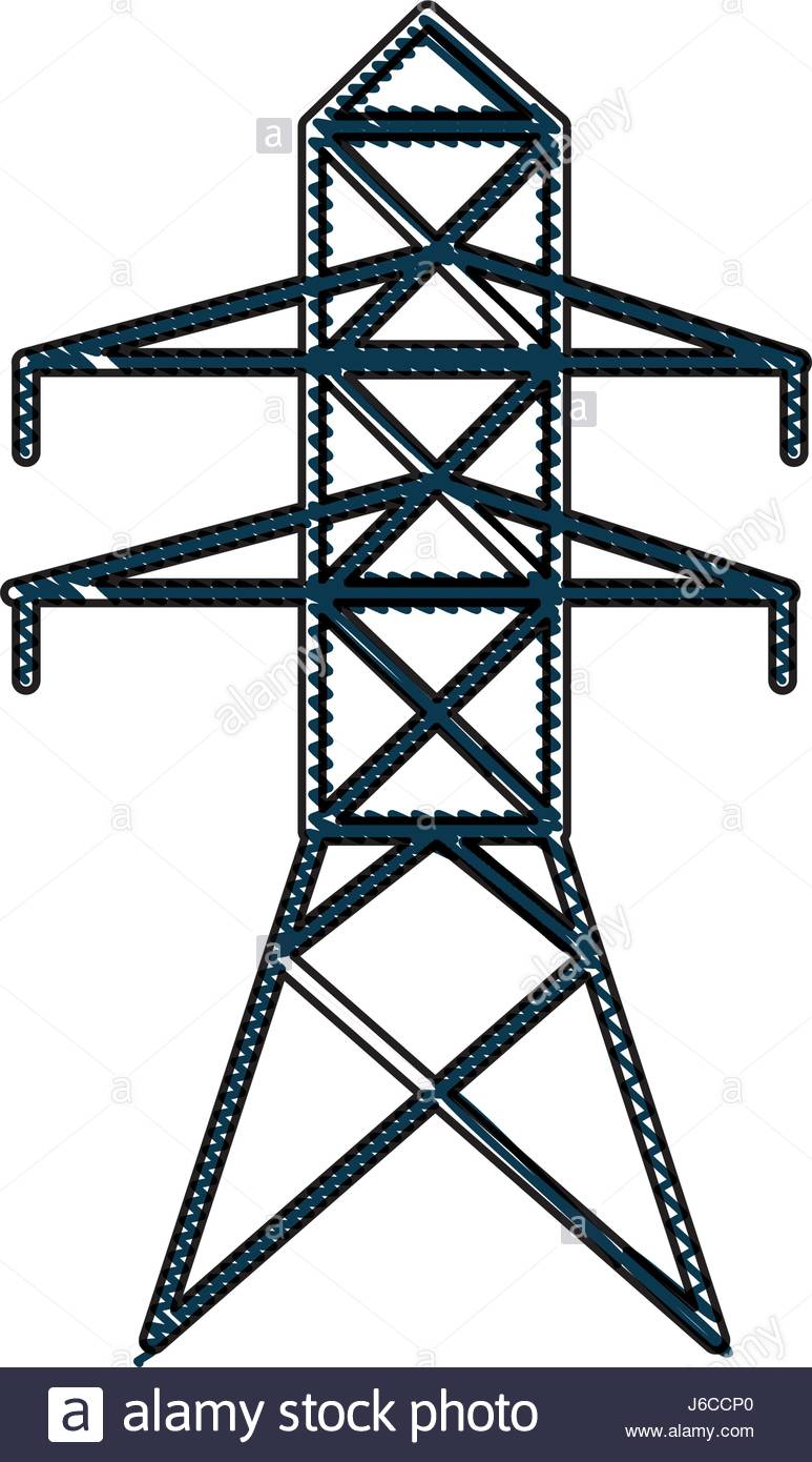 773x1390 Drawing Electricity Tower Distribution Energy Light Stock Vector