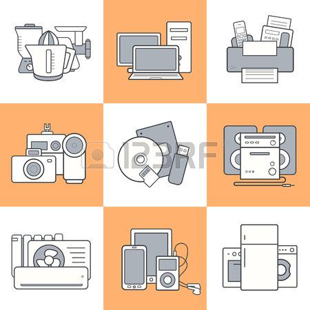 450x450 Kitchen Appliances Icons Set. Household Consumer Electronics