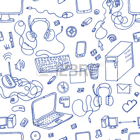 450x450 Seamless Pattern Of Hand Drawn Electronic Gadget With Notebook