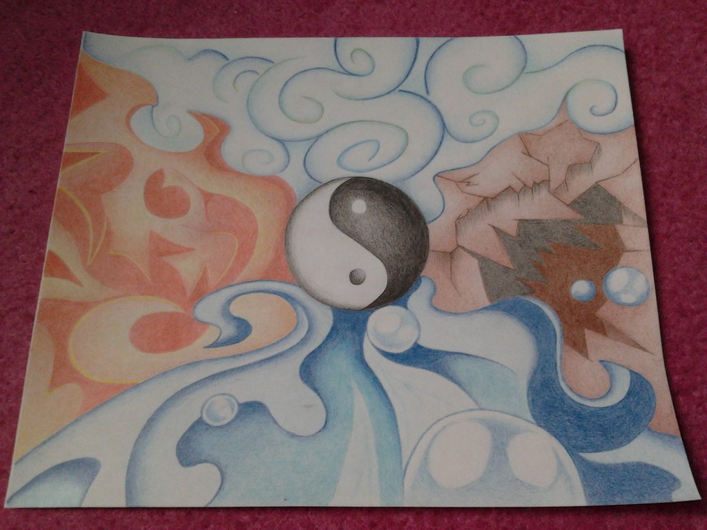 1024x768 Avatar The Four Elements By Moon Drawing