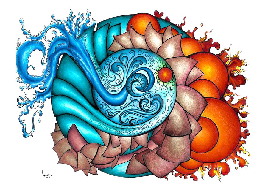 900x640 Earth, Wind, Water And Fire Four Elements Drawing By Itanhunt