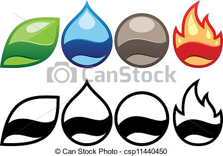 450x315 Four Elements Labels Vector Illustration Clipart Vector
