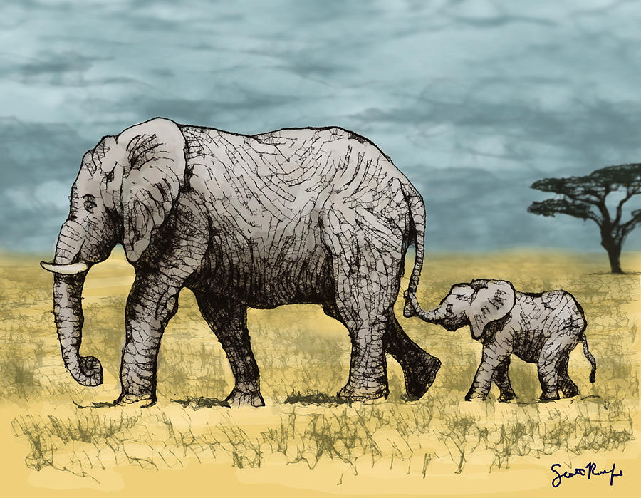 900x699 Elephant And Baby Digital Art By Scott Rolfe