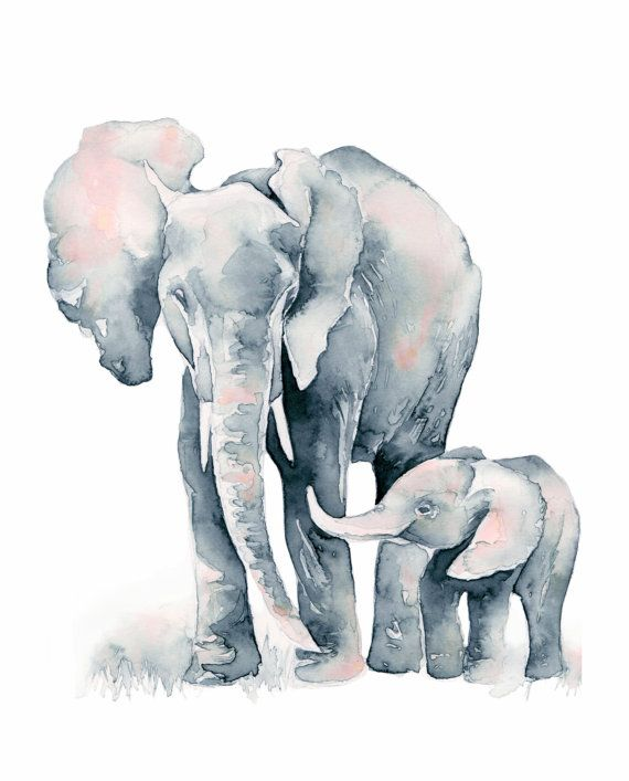 570x707 Elephant Baby, Print Silver And Blush Pink Elephant Mom And Baby