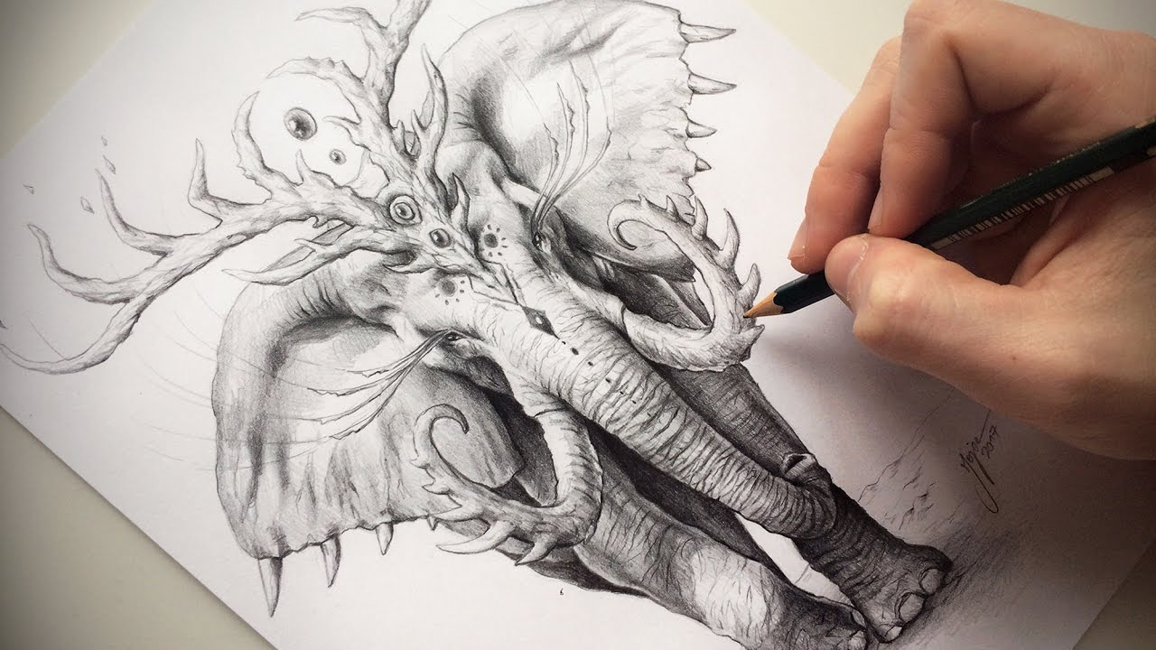 1280x720 How To Draw A Fantastic Elephant With Pencil + Voice Over !!
