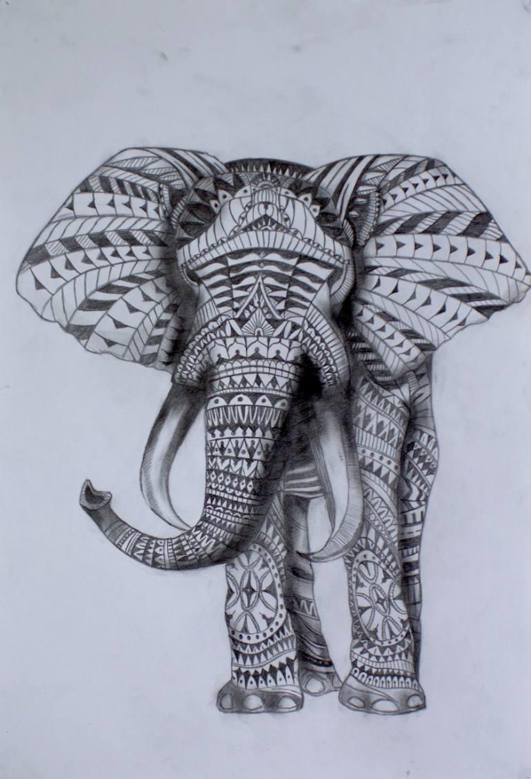 770x1128 Saatchi Art Tribal Elephant Drawing By Julian Rose