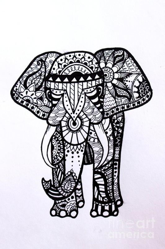 532x800 The Ornate Elephant Drawing By Kestra Bartholomew