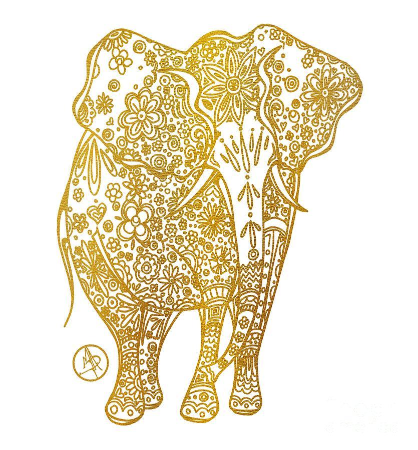 835x900 Unique Golden Elephant Art Drawing By Megan Duncanson Mixed Media