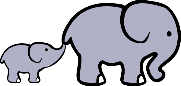 600x288 Baby Elephant And Adult Elephant Clip Art