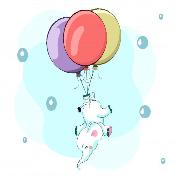626x626 Cute Baby Elephant In A Hot Air Balloon Cartoon Drawing Vector