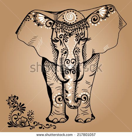 450x470 A Stylized Drawing Of An Elephant. Traditional Painted In Floral