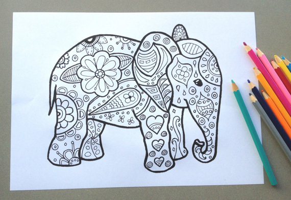 570x391 Elephant Design Colouring Page Adult Colouring Page Kids