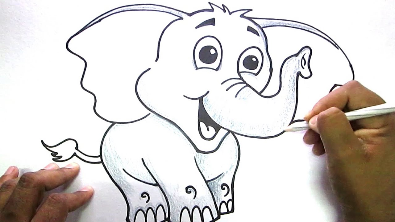 1280x720 How to draw Cute Elephant