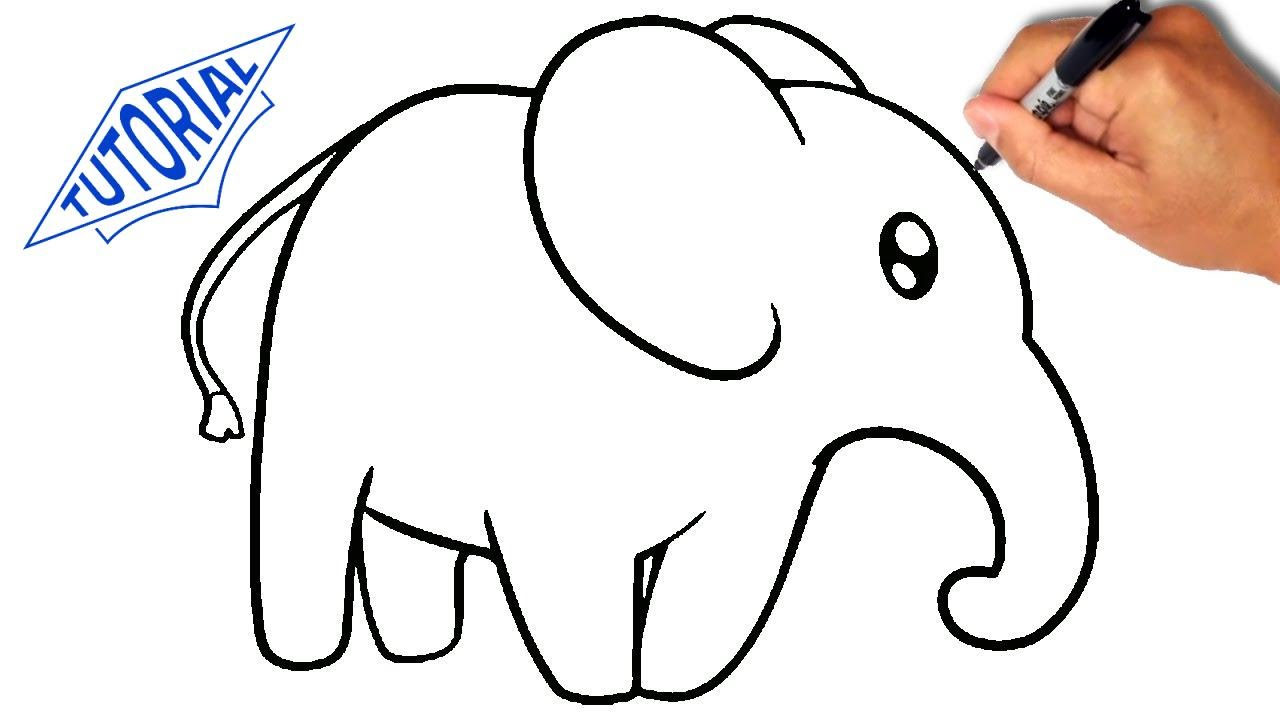 1280x720 How To Draw An Elephant For Kids [Simple]