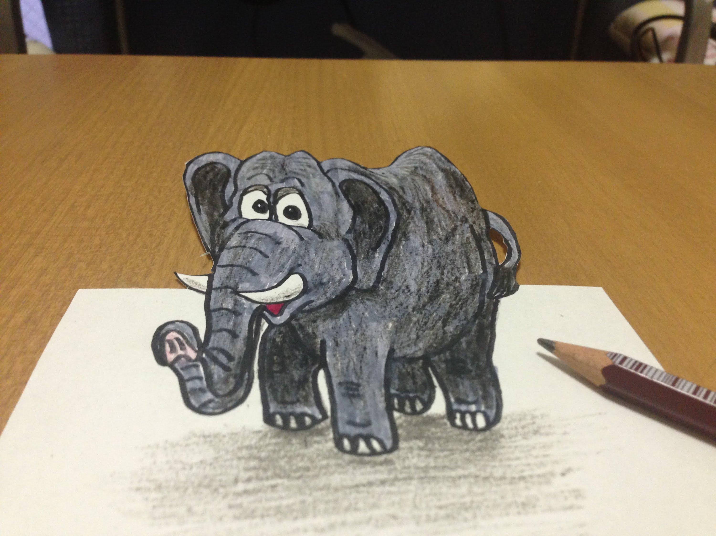 3000x2250 3d Elephant Drawing