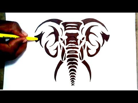 480x360 Drawing A Elephant Tribal Tattoo Desigh Style