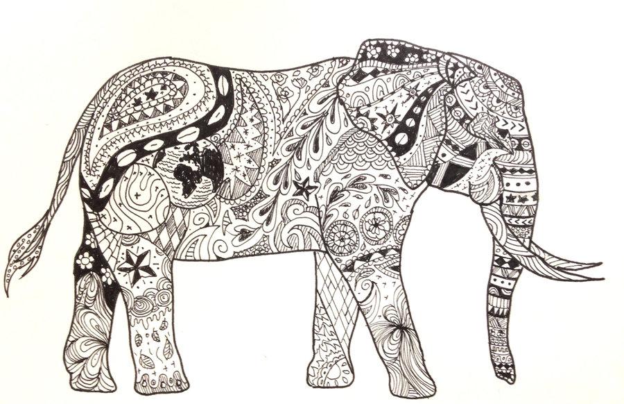 900x582 Elephant Pattern Drawing By Shugglebird
